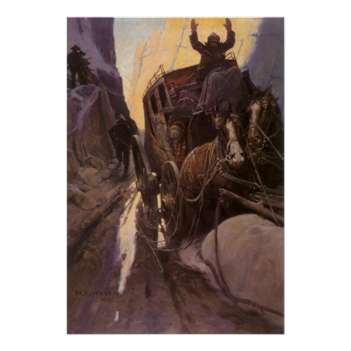 Vintage Cowboys, Hold Up in the Canyon by NC Wyeth Poster