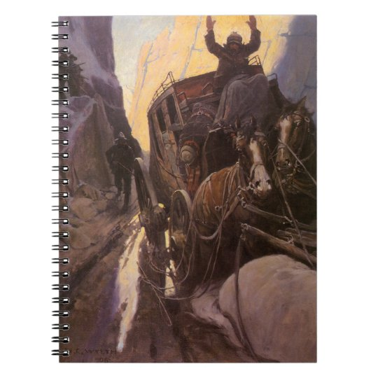 Vintage Cowboys, Hold Up in the Canyon by NC Wyeth Spiral Notebook