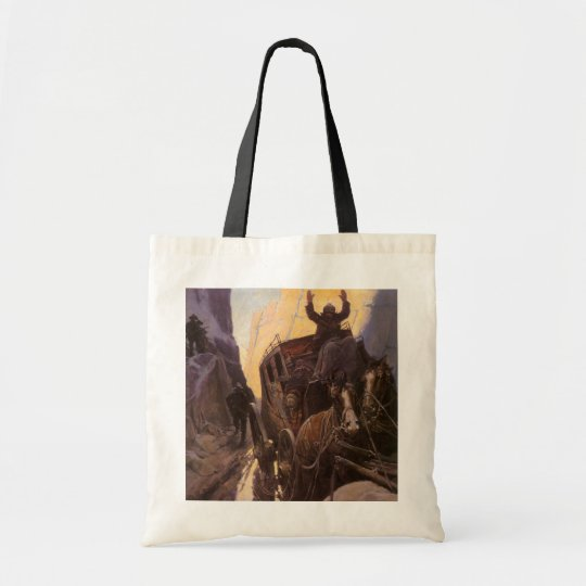Vintage Cowboys, Hold Up in the Canyon by NC Wyeth Tote Bag
