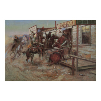 Vintage Cowboys, In Without Knocking by CM Russell Poster