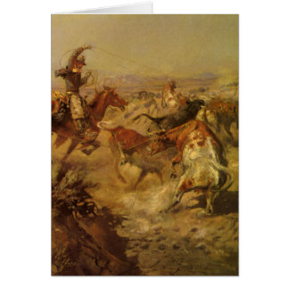 Vintage Cowboys, Jerked Down by CM Russell Card