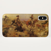 Vintage Cowboys, Jerked Down by CM Russell iPhone XS Case
