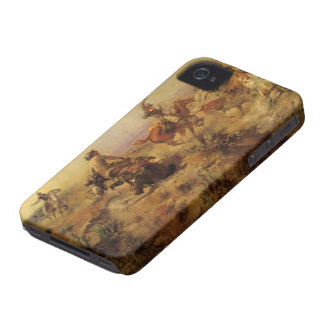 Vintage Cowboys, Jerked Down by CM Russell iPhone 4 Case
