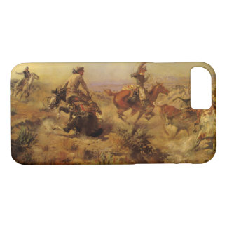 Vintage Cowboys, Jerked Down by CM Russell iPhone 8/7 Case