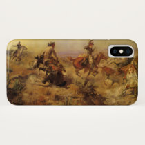 Vintage Cowboys, Jerked Down by CM Russell iPhone X Case