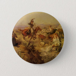Vintage Cowboys, Jerked Down by CM Russell Pinback Button