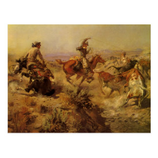 Vintage Cowboys, Jerked Down by CM Russell Postcard