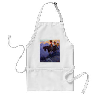Vintage Cowboys, Man and Woman on Horses, Anderson Adult Apron