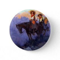 Vintage Cowboys, Man and Woman on Horses, Anderson Button