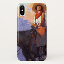 Vintage Cowboys, Man and Woman on Horses, Anderson iPhone X Case