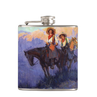 Vintage Cowboys, Man and Woman on Horses, Anderson Hip Flask