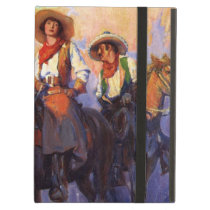 Vintage Cowboys, Man and Woman on Horses, Anderson iPad Air Cover