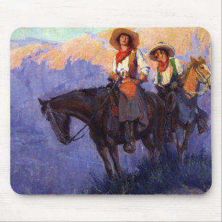 Vintage Cowboys, Man and Woman on Horses, Anderson Mouse Pad