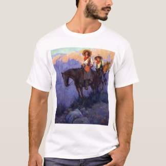 Vintage Cowboys, Man and Woman on Horses, Anderson T-Shirt