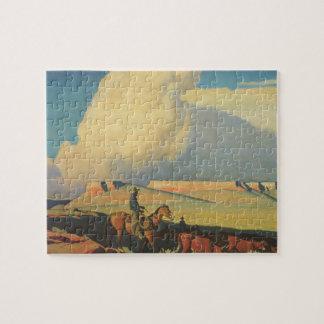 Vintage Cowboys, Open Range by Maynard Dixon Jigsaw Puzzle