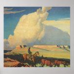 Vintage Cowboys, Open Range by Maynard Dixon Poster