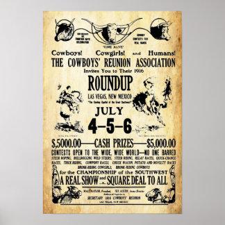 Vintage Cowboys Reunion Roundup Print