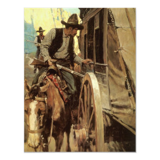 Vintage Cowboys, The Admirable Outlaw by NC Wyeth 4.25x5.5 Paper Invitation Card