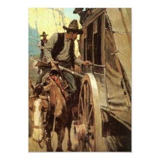 Vintage Cowboys, The Admirable Outlaw by NC Wyeth 5x7 Paper Invitation Card