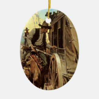 Vintage Cowboys, The Admirable Outlaw by NC Wyeth Ceramic Ornament
