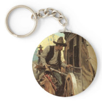 Vintage Cowboys, The Admirable Outlaw by NC Wyeth Keychain