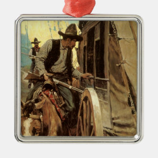 Vintage Cowboys, The Admirable Outlaw by NC Wyeth Metal Ornament