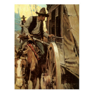 Vintage Cowboys, The Admirable Outlaw by NC Wyeth Postcard