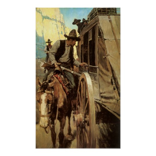 Vintage Cowboys, The Admirable Outlaw by NC Wyeth Poster