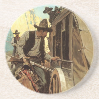 Vintage Cowboys, The Admirable Outlaw by NC Wyeth Sandstone Coaster