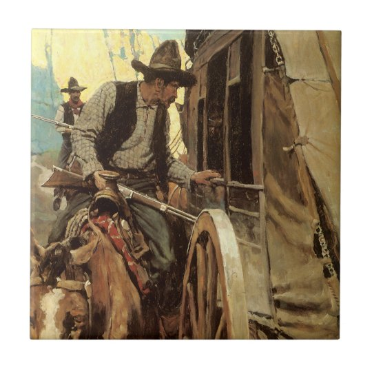 Vintage Cowboys, The Admirable Outlaw by NC Wyeth Tile