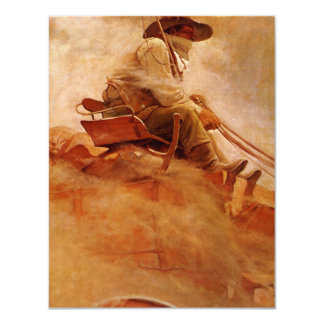 Vintage Cowboys, The Ore Wagon by NC Wyeth 4.25x5.5 Paper Invitation Card