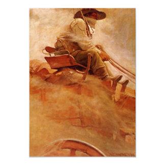Vintage Cowboys, The Ore Wagon by NC Wyeth 5x7 Paper Invitation Card