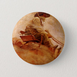 Vintage Cowboys, The Ore Wagon by NC Wyeth Button