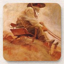 Vintage Cowboys, The Ore Wagon by NC Wyeth Drink Coaster