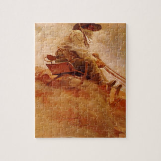 Vintage Cowboys, The Ore Wagon by NC Wyeth Jigsaw Puzzle