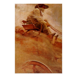 Vintage Cowboys, The Ore Wagon by NC Wyeth Poster