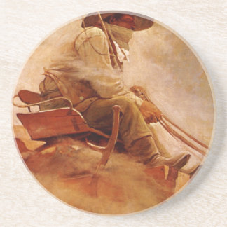 Vintage Cowboys, The Ore Wagon by NC Wyeth Sandstone Coaster