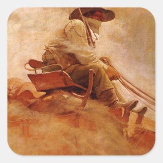 Vintage Cowboys, The Ore Wagon by NC Wyeth Square Sticker