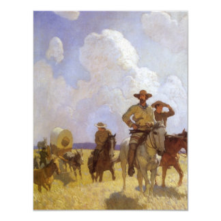 Vintage Cowboys, The Parkman Outfit by NC Wyeth 4.25x5.5 Paper Invitation Card