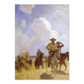Vintage Cowboys, The Parkman Outfit by NC Wyeth 5x7 Paper Invitation Card