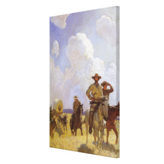 Vintage Cowboys, The Parkman Outfit by NC Wyeth Canvas Print