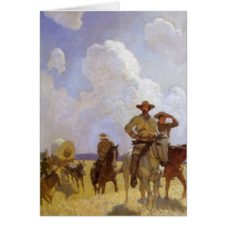 Vintage Cowboys, The Parkman Outfit by NC Wyeth Greeting Card
