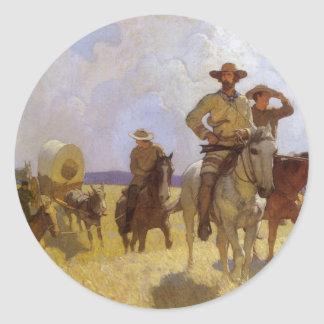 Vintage Cowboys, The Parkman Outfit by NC Wyeth Classic Round Sticker