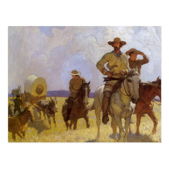 Vintage Cowboys, The Parkman Outfit by NC Wyeth Postcard