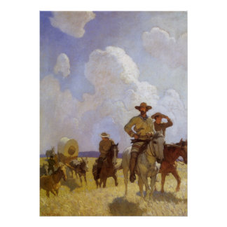 Vintage Cowboys, The Parkman Outfit by NC Wyeth Poster