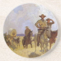 Vintage Cowboys, The Parkman Outfit by NC Wyeth Sandstone Coaster