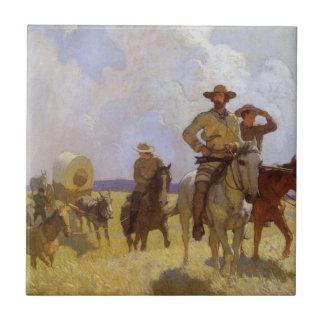 Vintage Cowboys, The Parkman Outfit by NC Wyeth Tile