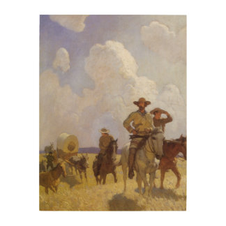Vintage Cowboys, The Parkman Outfit by NC Wyeth Wood Print
