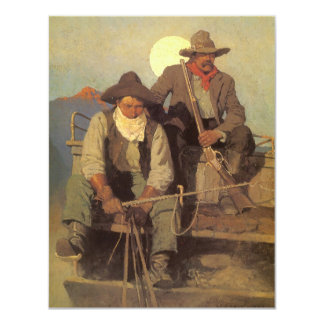Vintage Cowboys, The Pay Stage by NC Wyeth 4.25x5.5 Paper Invitation Card