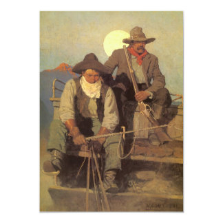 Vintage Cowboys, The Pay Stage by NC Wyeth 5x7 Paper Invitation Card
